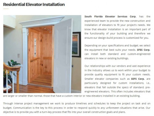 South Florida Elevator Service Corp. 6956 NW 51st ST Miami, FL 33166 (305) 456-5686  http://www.southfloridaelevatorservice.com/miami/