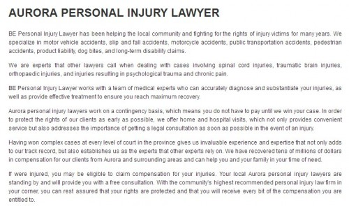 BE Personal Injury Lawyer 16 Industrial Parkway S Aurora, ON L4G 0R4 (800) 532-8704  https://beinjurylawyers.ca/aurora-personal-injury-lawyer.html