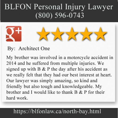 BLFON Personal Injury Lawyer 437 Sherbrooke St Suite A North Bay, ON P1B 2C2 (800) 596-0743  https://blfonlaw.ca/north-bay.html