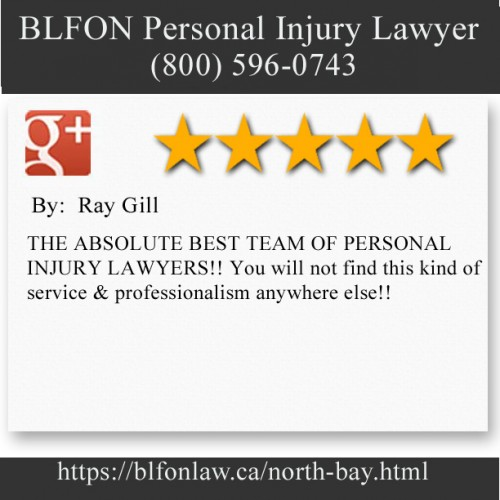BLFON Personal Injury Lawyer 437 Sherbrooke St Suite A North Bay, ON P1B 2C2 (800) 596-0743  https://blfonlaw.ca/north-bay.html