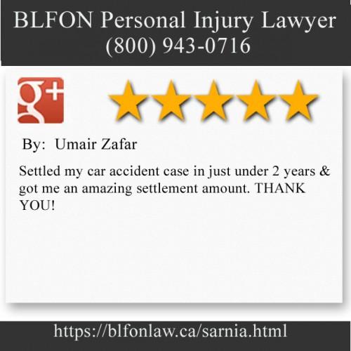 BLFON Personal Injury Lawyer 546 Christina Street North #403 Sarnia, ON N7T 5W6 (800) 943-0716  https://blfonlaw.ca/sarnia.html