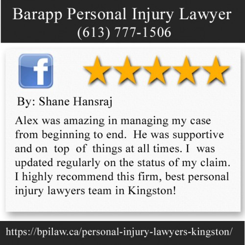 Barapp Personal Injury Lawyer 130 Ontario St, lower level Kingston, ON K7L 2Y4 (613) 777-1506  https://bpilaw.ca/personal-injury-lawyers-kingston/
