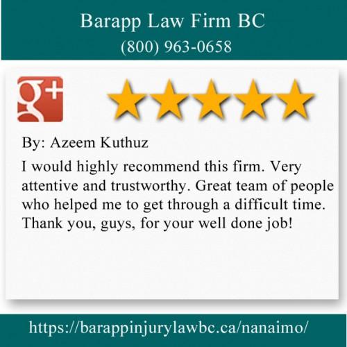 Barapp Law Firm BC 55 Front St Nanaimo, BC V9R 5H9 (800) 963-0658  https://barappinjurylawbc.ca/nanaimo/