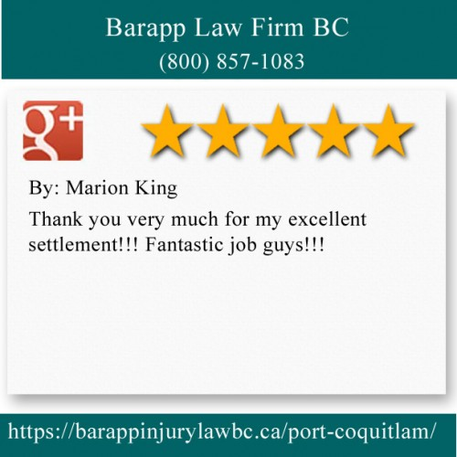 Barapp Law Firm BC 2300-2850 Shaughnessy St Port Coquitlam, BC V3C 6K5 (800) 857-1083  https://barappinjurylawbc.ca/port-coquitlam/
