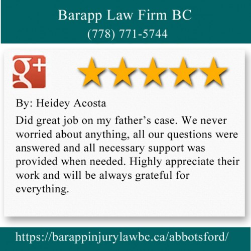 Barapp Law Firm BC 32310 S Fraser Way Abbotsford, BC V2T 1X1 (778) 771-5744  https://barappinjurylawbc.ca/abbotsford/