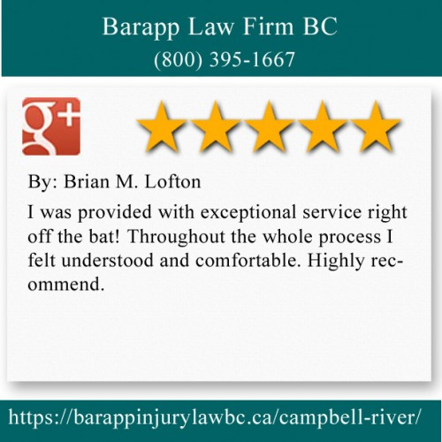 Barapp Law Firm BC 5-516 S Dogwood St Campbell River, BC V9W 6R4 (800) 395-1667  https://barappinjurylawbc.ca/campbell-river/