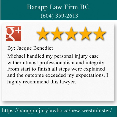 Barapp Law Firm BC 205-810 Quayside Dr New Westminster, BC V3M 6B9 (604) 359-2613  https://barappinjurylawbc.ca/new-westminster/