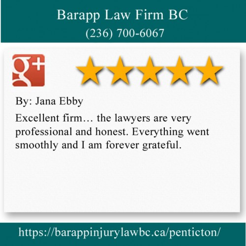 Barapp Law Firm BC 125 Eckhardt Ave E Penticton, BC V2A 1Z5 (236) 700-6067  https://barappinjurylawbc.ca/penticton/