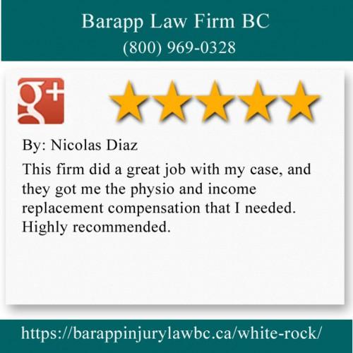 Barapp Law Firm BC 1548 Johnston Rd Suite 210 White Rock, BC V4B 2Z8 (800) 969-0328  https://barappinjurylawbc.ca/white-rock/