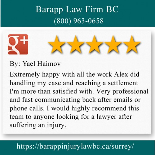 Barapp Law Firm BC 10579 King George Blvd Surrey, BC V3T 2X5 (800) 963-0658  https://barappinjurylawbc.ca/surrey/