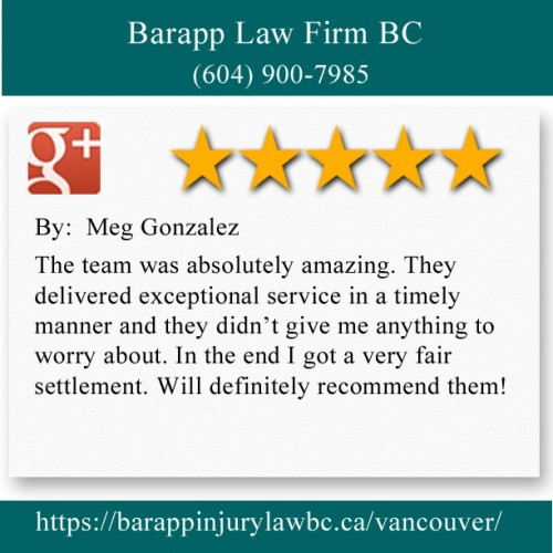 Barapp Law Firm BC 922, 510 W Hastings St Vancouver, BC V6B 1L8 (604) 900-7985  https://barappinjurylawbc.ca/vancouver/