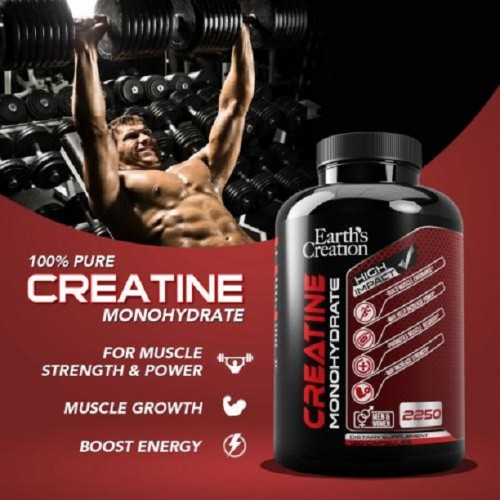 Earth's Creation Creatine Monohydrate 2250 Capsule is the purest, fast dissolving and rapidly absorbed creatine monohydrate sport supplement in pill form.  Visit us: https://vitaminmall.com.sg/earth-creation-creatine-monohydrate-capsule