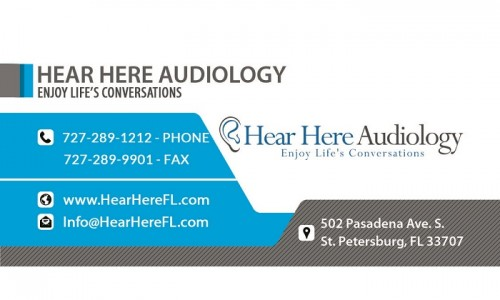 Hear Here Audiology  Hear Here Audiology offers Hearing Aids, Hearing Aid Repair and Maintenance and Hearing Exams, Tinnitus help and Custom Ear Molds in St. Petersburg, FL. Hear Here Audiology specializes in advanced hearing testing, diagnostics and treatment of hearing disorders.  Address:502 Pasadena Ave S, St. Petersburg, FL 33707, USA Phone: 727-289-1212 Website: https://www.hearherefl.com