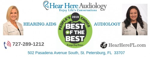 Hear Here Audiology  Hear Here Audiology offers Hearing Aids, Hearing Aid Repair and Maintenance and Hearing Exams, Tinnitus help and Custom Ear Molds in St. Petersburg, FL. Hear Here Audiology specializes in advanced hearing testing, diagnostics and treatment of hearing disorders.  Address: 502 Pasadena Ave S, St. Petersburg,  FL 33707, USA Phone: 727-289-1212 Website: https://www.hearherefl.com