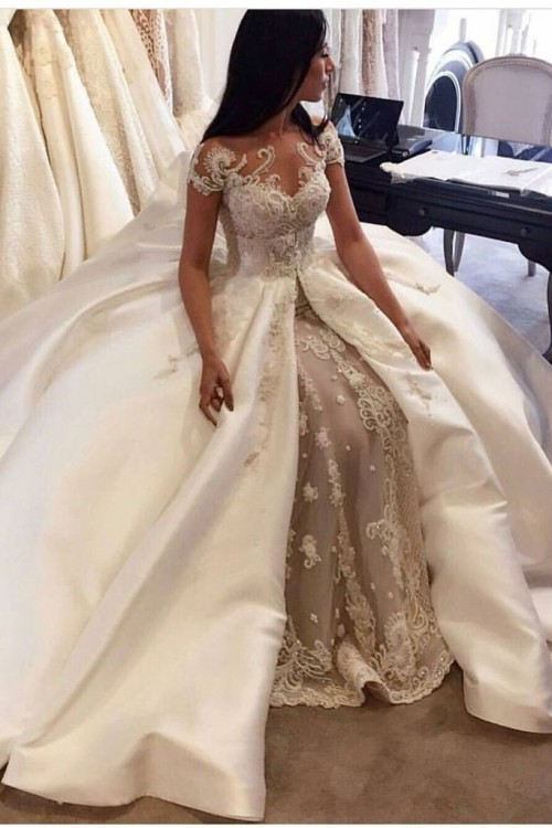 Price is $619.00  Link:https://www.smilepromdresses.com/products/2019-luxury-wedding-dresses-a-line-scoop-cathedral-train-satin-and-tulle-with-p3nt12yb
