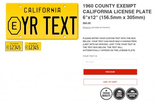 1960 County Exempt California License Plate. Made from high quality Aluminium and embossed with your custom text, our 1960 County Exempt California License Plate is unmatched in authenticity, customization, and quality from any other manufacturer ...https://california-license-plate.com/collections/1956-1962-california-license-plates/products/1960-county-exempt-california-license-plate-6x12-156-5mm-x-305mm