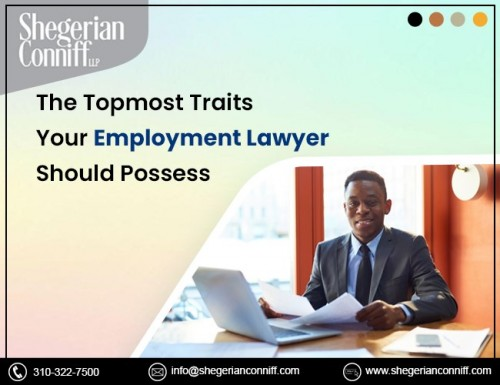 Choosing employment attorneys can be a difficult and daunting task. Doing your homework and knowing what traits your lawyer needs to move your case to a satisfying conclusion is essential. Let's consider the topmost traits that your employment lawyer should have: https://sites.google.com/view/shegerianconniff/blog/the-topmost-traits-your-employment-lawyer-should-posses?authuser=2